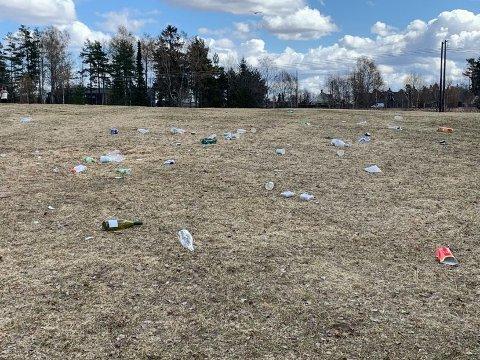 NORDBYTJERNET: Festlighetene natt til 1. mai resulterte i mye forsøpling.