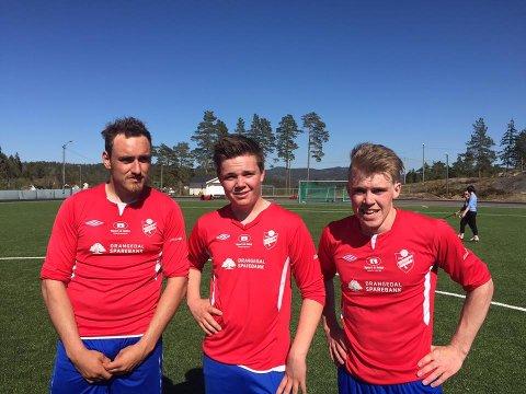 Per Stian Øverdal, Aleksander Bjervamoen og Kristian Lia scoret Drangedals mål mot Kjapp i en glovarm hjemmekamp.