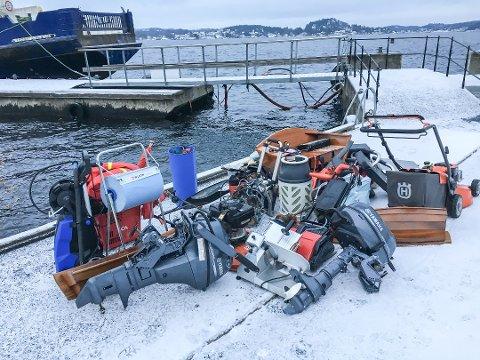 TYVEGODS: Det var mange verdifulle gjenstander som hytteeieren på Stabbestad fant i sjøbua si. (Foto: Politiet)