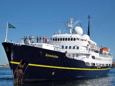 """Det er så langt bestilt sju cruiseskipanløp i Kragerø til vår og sommeren. """"Serenissima"""" har besøkt Kragerø tidligere og kommer igjen."""