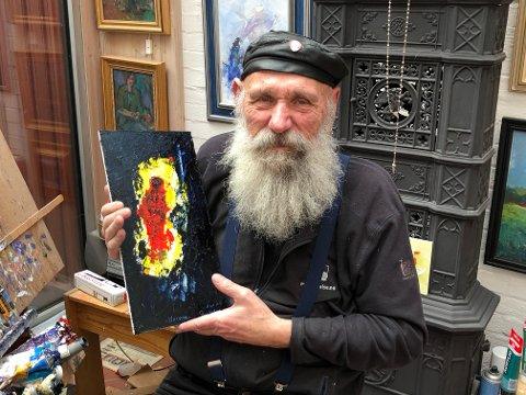 Thore Sveberg med sitt siste maleri som han har kalt: «Korona».