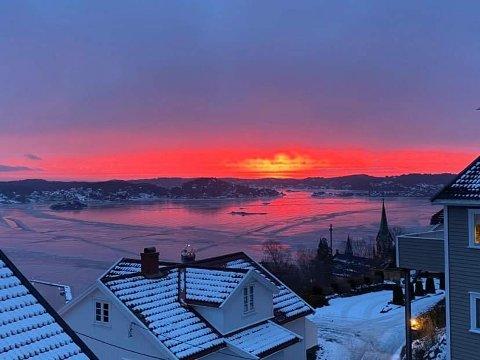 Utsikt fra Skriverheia mandag morgen.