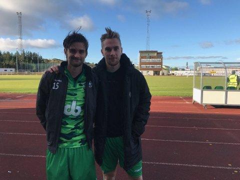 Johnny Furdal (t.h.) og Rune Åsheim Mo kan ha spelt sin siste kamp saman. Furdal er aktuell for Brann, medan Åsheim Mo trenar med Sandnes Ulf og Viking. (Arkivfoto).
