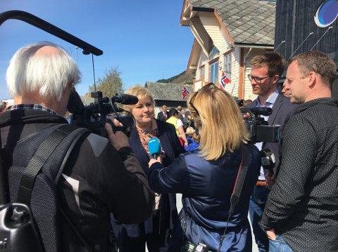 Folgefonnsenteret og Rosendal fekk heftig pressedekning denne dagen, både frå TV2, NRK og lokalpressa. (Foto: Elisabeth Berg Hass).