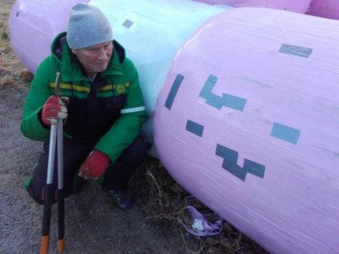 HOL: Magne Huglen syner til mange hol i siloballane på Dønhaug. Her er forballane tetta med tape.