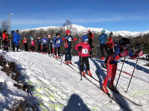 IVRIGE: Det var sol og fint, men litt lite snø då IL Ternen arrangerte Kvinnheradmeisterskap i langrenn på søndag. (Foto: Sjur Langesæter).