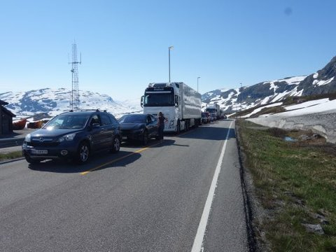 Vegvesenet anbefaler bilister å smøre seg med tålmodighet når de skal over fjellet denne sommeren.