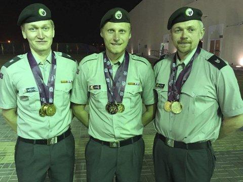 GULLGUTTER: Odd Arne Brekne (t.v.), Kim-André Aannestad lund og Hans Kristian Wear har herjet med konkurrentene i militært VM.foto: privat