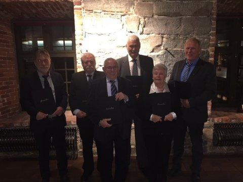 45 Års jubilanter i Fellesforbundet Ffv. Willy Hansen, Ranveig Hansen, Einar Bjørnsrud, Kjell Kristiansen, Halvard Riggenholt, Magnar Hovde.