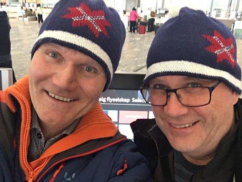 SPENTE: Pappa Sigvart bjøntegaard t.v.) og onkel Rune Øvereng er ringside når Erlend Øvereng Bjøntegaard OL-debuterer om kort tid. (FOTO: PRIVAT)