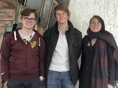 ENGASJERTE ELEVER: - Vi kan legge til rette for at folk har en vennekrets å forholde seg til. Da blir det lettere å snakke sammen, lære av hverandre og at folk føler trygghet. Det mener Simen Murud (18), elev ved KOVS, Ole Torbjørn Torgersen (17) elevrådsleder på Kongsberg Videregående Skole (KOVS) og Lene Martinsen (18).