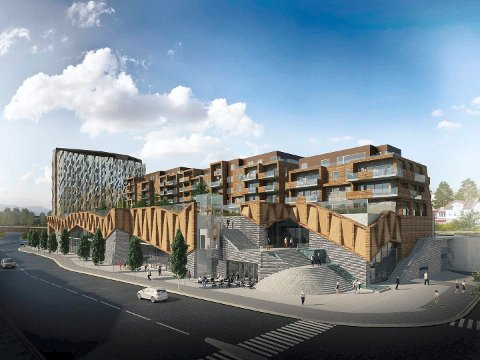 STORT PROSJEKT: Sølvparken-komplekset av leiligheter og forretninger, i tillegg skal det bygges hotell. Utbyggeren søkte om å dele opp for å lage flere og mindre butikker, men dette er politikerne redde for at vil utarme den øvrige sentrumshandelen.