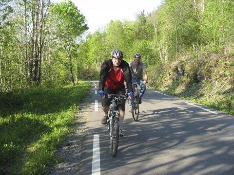 På sykkelsetet: Vi  følger  Lågen  sørover  og  holder  oss  på  lavtrafikkerte  landeveier. Foto: Grete Graaner