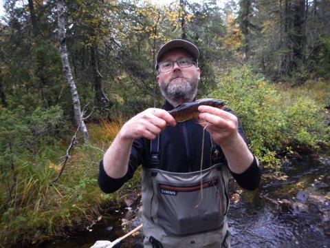 PÅ JOBB: Ferskvannsbiolog Finn Gregersen i Multiconsult sjekker fisken i Kobberbergselva.