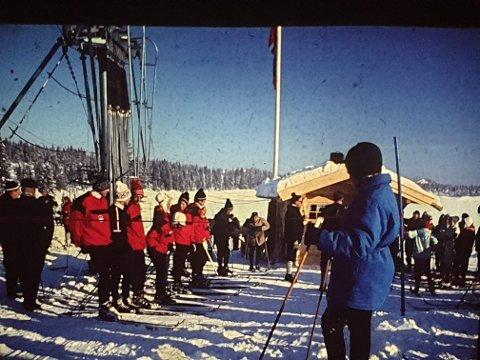 Bilde fra da den første heisen ble åpnet av Fylkesmannen i 1969.