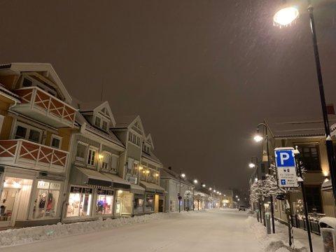 Det har kommet en del snø i natt, her fra 17. mai gata.