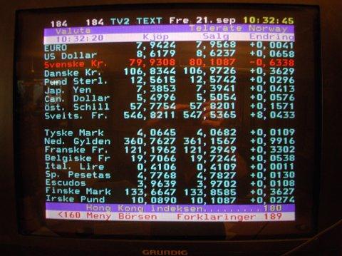 TV 2s gamle tekst-TV-tjeneste, som nå er lagt ned. GET sier det ikke er tekst-TV i deres nye dekodere.