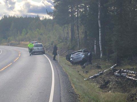 BUVANNET: En personbil har kjørt i et tre på E134.
