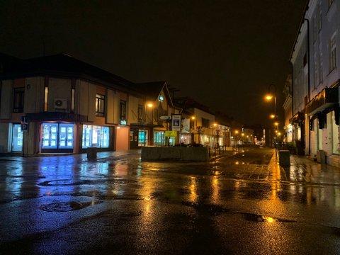 VÅTT: Det er ikke mye som minner om vinter i Kongsberg sentrum om dagen, selv om vi snart er midt i januar.