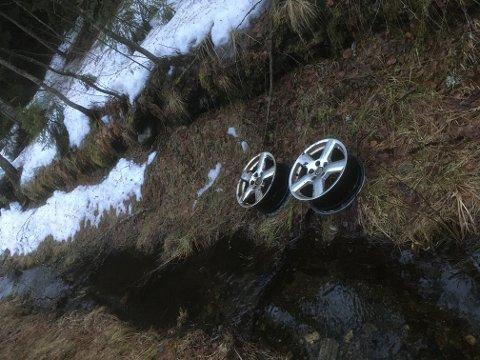 Disse ligger slengt i grøfta ved Kjennerudvannet.