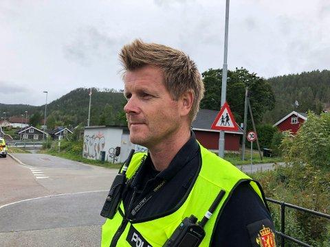 MYE BRÅK: Ståle Sjølie i Kongsberg-politiet melder om feststøy natt til lørdag.