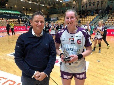BESTE SPILLER: Ingvild Bakkerud ble kåret til kampens beste spiller, da Herning-Ikast gikk til sluttspillet i dank håndball.