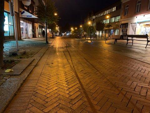 REGN: Regnværet startet litt før klokken sju i Kongsberg tirsdag morgen. Det skal ikke bli like ille som søndag.