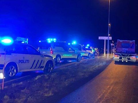 ULYKKE: En mann ble alvorlig skadet i ulykken lørdag.