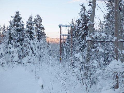 TUNG SNØ: Mye snø mandag førte til flere strømbrudd i Rollag mandag.