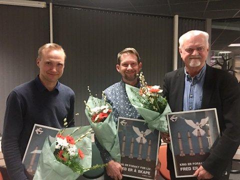 Tormod Heier, møteleder Erik Høyvold og Rune Ottosen etter et vellykka møte.
