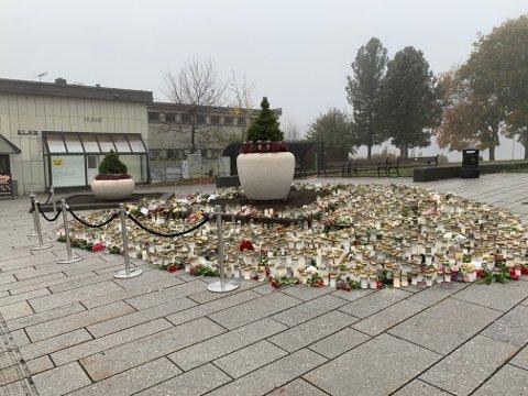 Pyntet: Kongsberg kommune har pyntet med krukker og vintergrønne planter.