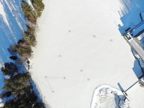 TYDELIGE SPOR: Disse sporene og hullene i isen bekymrer Glitre Energi.