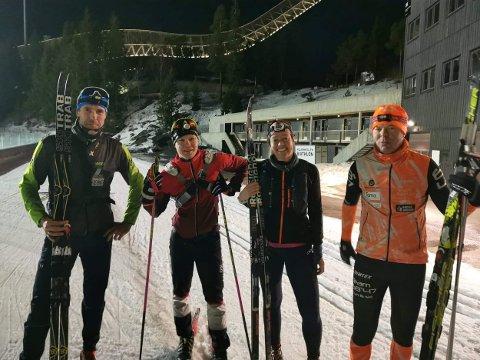 PENDLERRENNET: Jan Kristian Haugnæss, Tor Christian Eilertsen, Gro Siljan Hjukse og Rudi Kristiansen gikk det avlyste Pendlerrennet lørdag.
