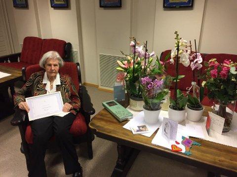 JUBILANT: Ingeborg Mathea Fønnebø fylte 100 år søndag 28. februar.