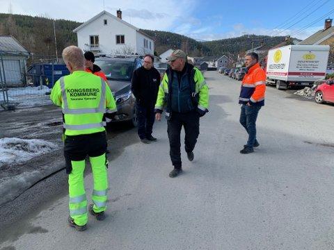 BEFARING: Torsdag møttes PK Hus, Kongsberg kommune, Vy Buss og entreprenør Terje Solli AS til befaring i forbindelse med byggestart over påske.