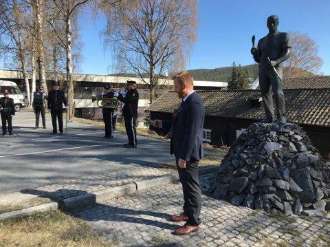 Njål Vigleik Grene-Johnsen holdt appell ved Bergmannen.