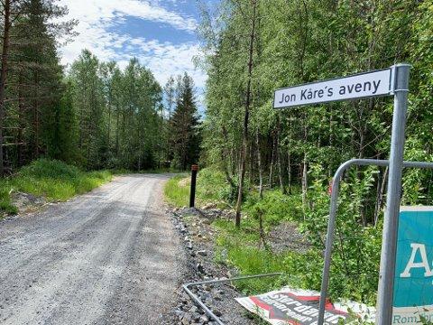NYTT GATENAVN: Ansatte i Flesberg kommune satt opp dette skiltet som en liten gimmick i forbindelse med at Jon Kåre Johnsson blir pensjonist.