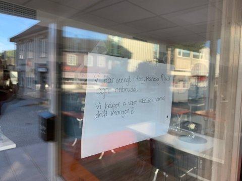 Stengt: Tråkka kafé holdt stengt mandag på grunn av innbruddet, men åpnet igjen tirsdag. Politiet etterforsker fortsatt innbruddet.