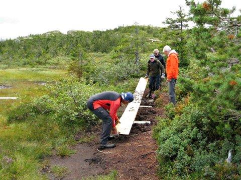 ARBEIDSLAG: Her legges det ut plank på den øvre delen av stien mot Styggemann. Fra venstre: Tore Gilhuus, Dag Kristoffersen, Reidar Demmo og Rune Larsen.