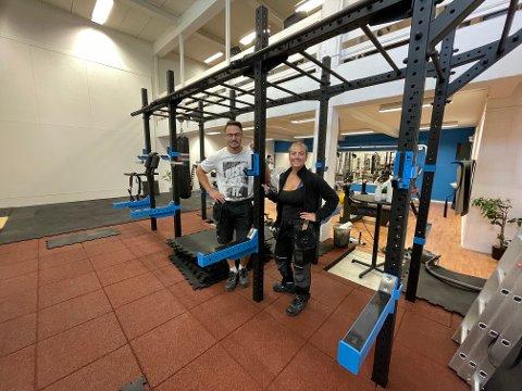 STØRRE: Sondre Bjerkerud og Marte Kristoffersen har tilbragt sommeren på treningssenteret sitt, Top Notch Fitness, som de har utvidet og pusset opp.