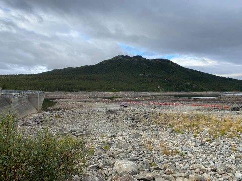 TØRT: Slik ser det nå ut i Pålsbufjorden, rene ørkenlandskapet.
