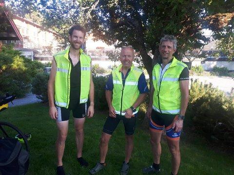 Det tøffeste unnagjort: Etter å ha fullført en dagsetappe på 175 kilometer med over 2000 meters stigning, kan Petter Justad, Nils Haugen og Rolf Berg, se frem til to lettere etapper før de er på Lindesnes lørdag.