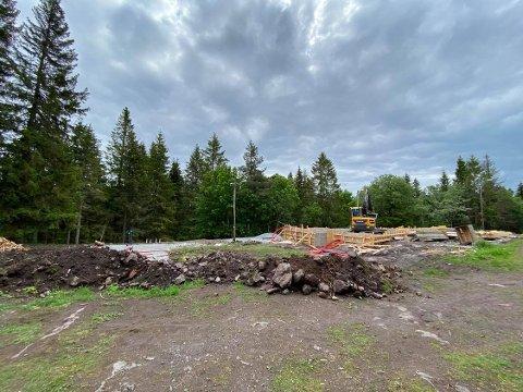 Sist uke: Bildet viste stedet det jobbes med den nye Strong-hytta.