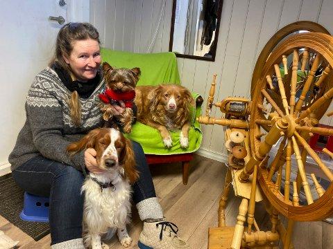 Rokk i hundehuset: Kirsti Marie Lager Lyngås sitter gjerne ved rokken og spinner når hundnee slapper av. Foran sitter Luna (snart 4), på fanget er Tony (2) og i stolen ligger Trulte (8).