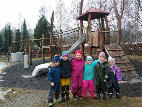 Fornøyde: Også barna i Lier Natur og Landbruks barnehage er veldig fornøyde med barnehagen sin. Fra venstre: Alfred Faaberg (5), Willy Stabæk (6), Amalie Fossli (5), Sara Opsahl Joramo (6), Samantha Sass (5) og Astrid Stabæk (4).