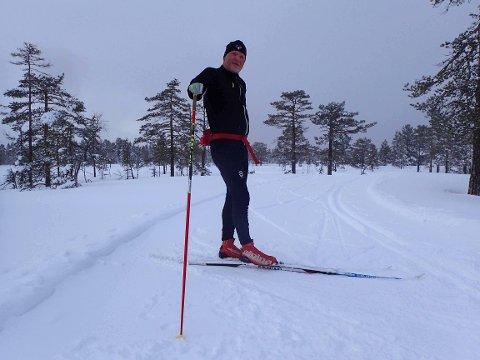 Terje Amundsen koste seg i de nykjørte skiløypene til Lier kommune oppe på Skimtheia og rundt Tverråsen.