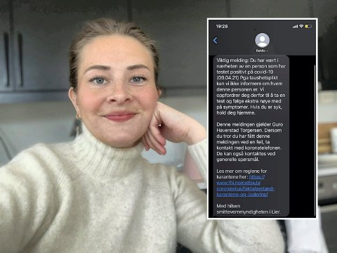 Forvirrende: Guro Haverstad Torgersen synes meldingen om at hun har vært i nærheten av en som har fått påvist koronasmitte kunne vært litt mer presis.