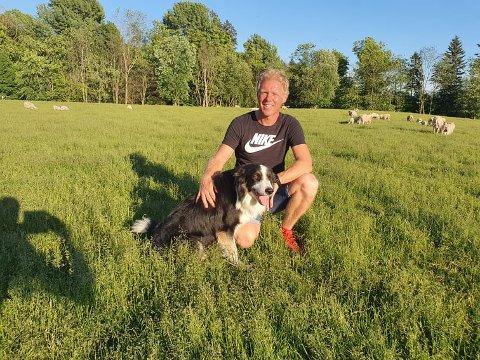 Sauebonden: Arne Christoffer Sand trives som sauebonde på Sand gård i Grøttegata 21. Her har han tatt med seg gjeterhunden Junior ut til sauene.