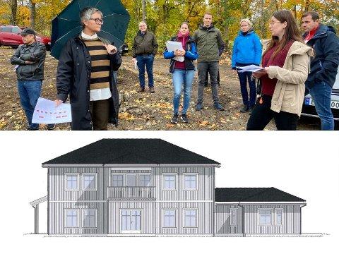 Ønsket befaring: Tove Hofstad (V) (med paraply) ønsket befaring for å se om huset som planlegges passer inn i Hennumkroken. Her i samtale med saksbehandler Janne Celia Seim.