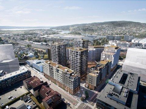 MEIERIKVARTALET: Slik skal Meierikvartalet se ut når det etter hvert står ferdig. Prosjektet får rundt 350 leiligheter og cirka 40.000 kvadratmeter næringsareal.